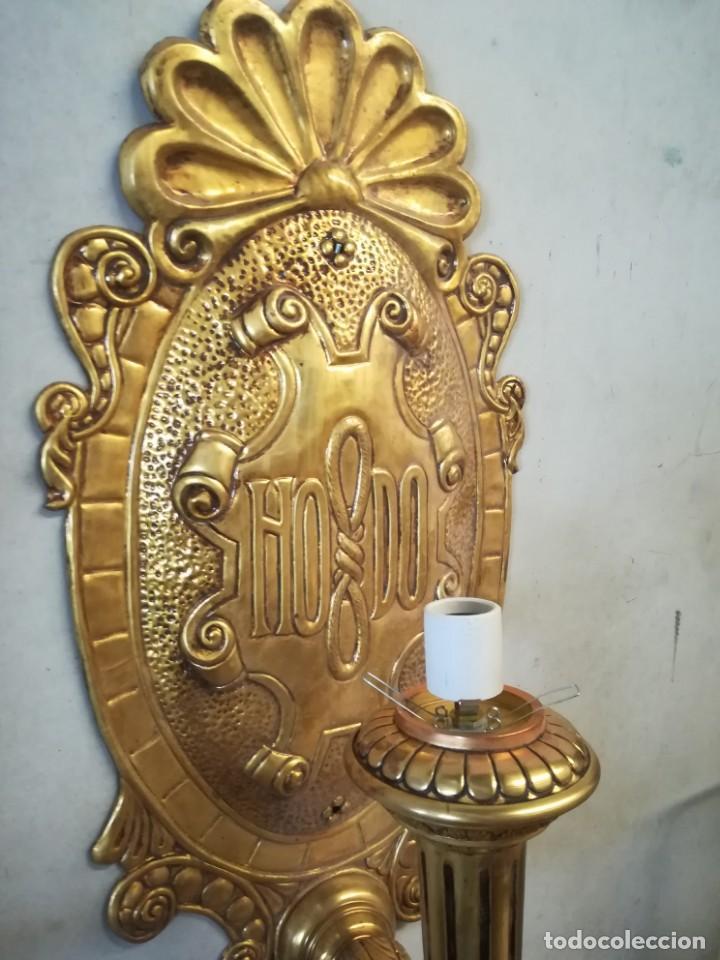 Antigüedades: Pareja apliques bronce 1928 - Foto 2 - 169045332
