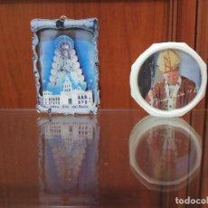 Antigüedades: 2 PIEZAS RELIGION ARTE RECUERDO SAN PEDRO DEL VATICANO, ROMA ITALIA. ROSARIO CAJA Y VIRGEN DEL ROCIO. Lote 169061632