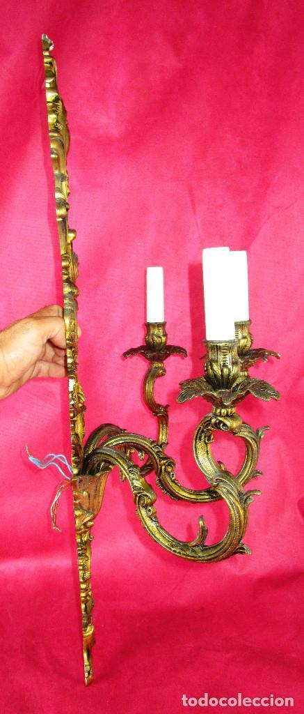 Antigüedades: ENORMES LAMPARAS APLIQUES DE PARED BRONCE PATINADO , ESTILO CLASICO IMPERIO - Foto 4 - 169079108