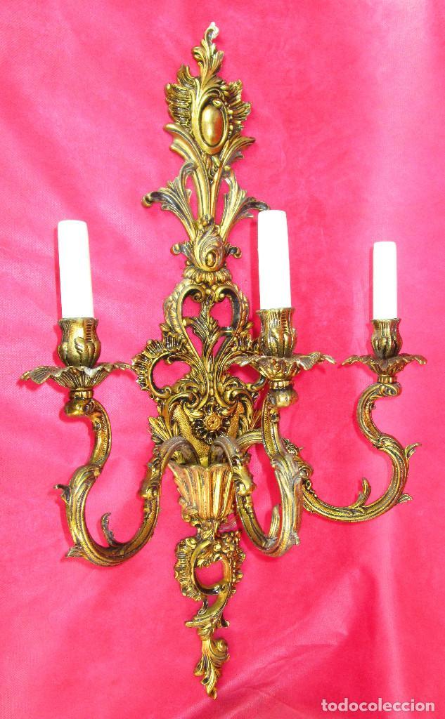 Antigüedades: ENORMES LAMPARAS APLIQUES DE PARED BRONCE PATINADO , ESTILO CLASICO IMPERIO - Foto 6 - 169079108