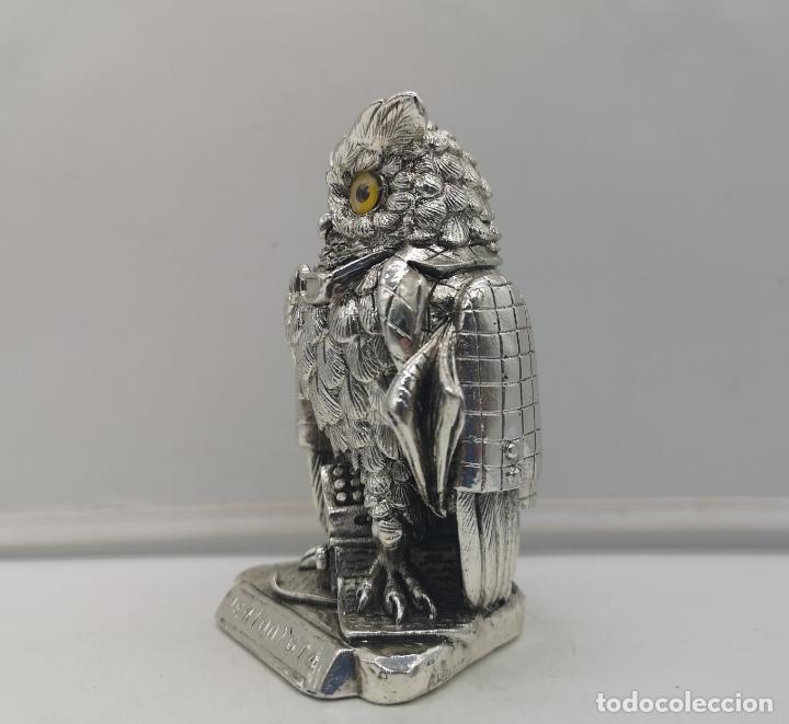 Antigüedades: Original figura antigua de búho Periodista con acabado laminado en plata de ley 925 . - Foto 2 - 169079724