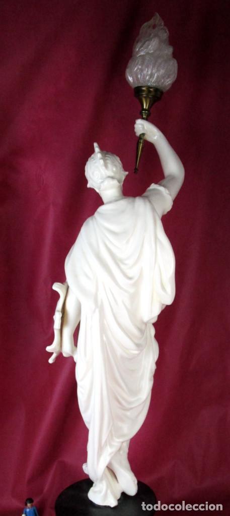 Antigüedades: ENORME LAMPARA CLASICA SUELO O MESA CERAMICA MANISES ANTORCHAS HACHERO GUERRERO GRIEGO - Foto 8 - 169085172