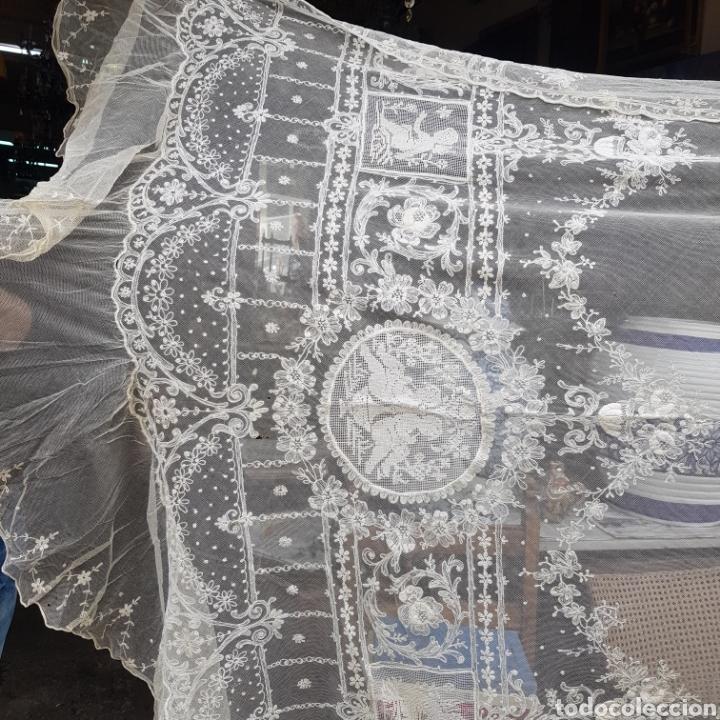 Antigüedades: ANTIGUO VELO MANTILLA EN ENCAJE DE BRUSELAS SIGLO XIX - Foto 2 - 169089153