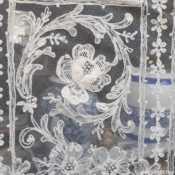 Antigüedades: ANTIGUO VELO MANTILLA EN ENCAJE DE BRUSELAS SIGLO XIX - Foto 3 - 169089153