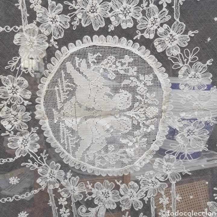 Antigüedades: ANTIGUO VELO MANTILLA EN ENCAJE DE BRUSELAS SIGLO XIX - Foto 4 - 169089153