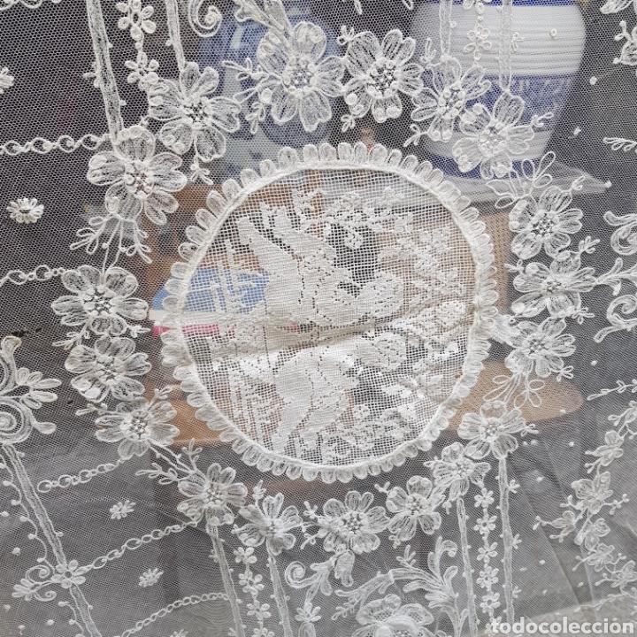 Antigüedades: ANTIGUO VELO MANTILLA EN ENCAJE DE BRUSELAS SIGLO XIX - Foto 7 - 169089153