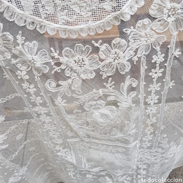 Antigüedades: ANTIGUO VELO MANTILLA EN ENCAJE DE BRUSELAS SIGLO XIX - Foto 8 - 169089153