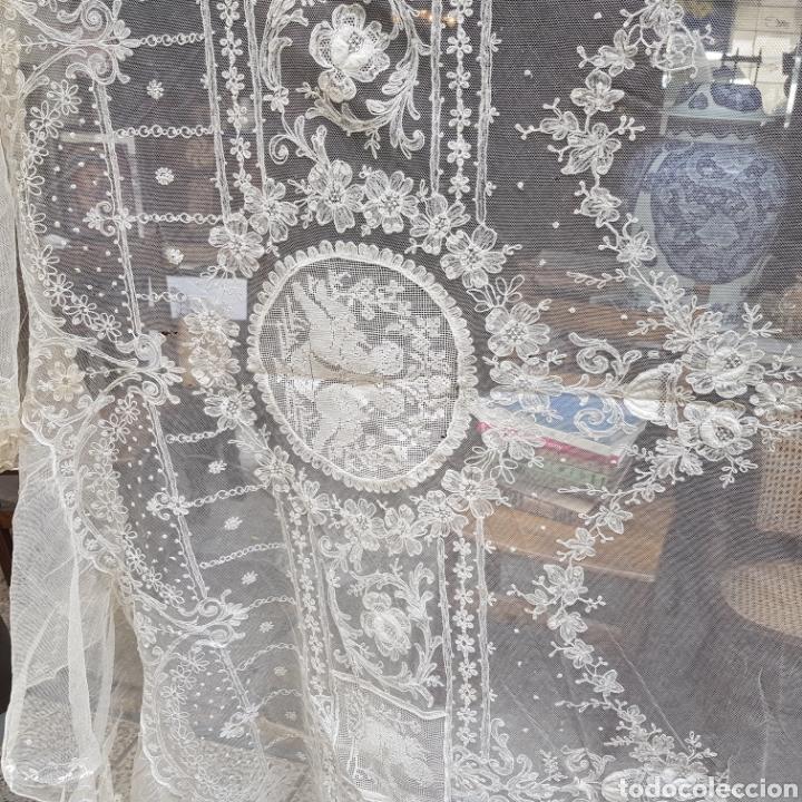 Antigüedades: ANTIGUO VELO MANTILLA EN ENCAJE DE BRUSELAS SIGLO XIX - Foto 9 - 169089153