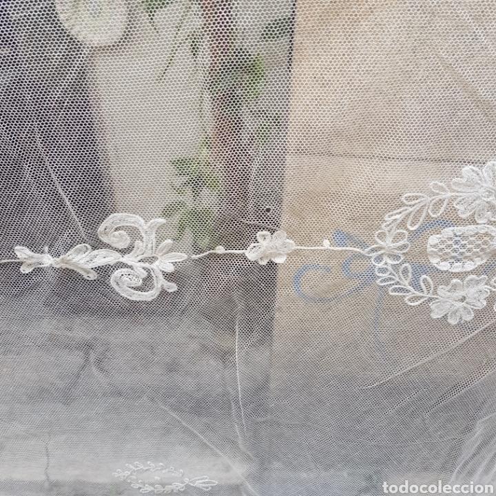 Antigüedades: ANTIGUO VELO MANTILLA EN ENCAJE DE BRUSELAS SIGLO XIX - Foto 12 - 169089153