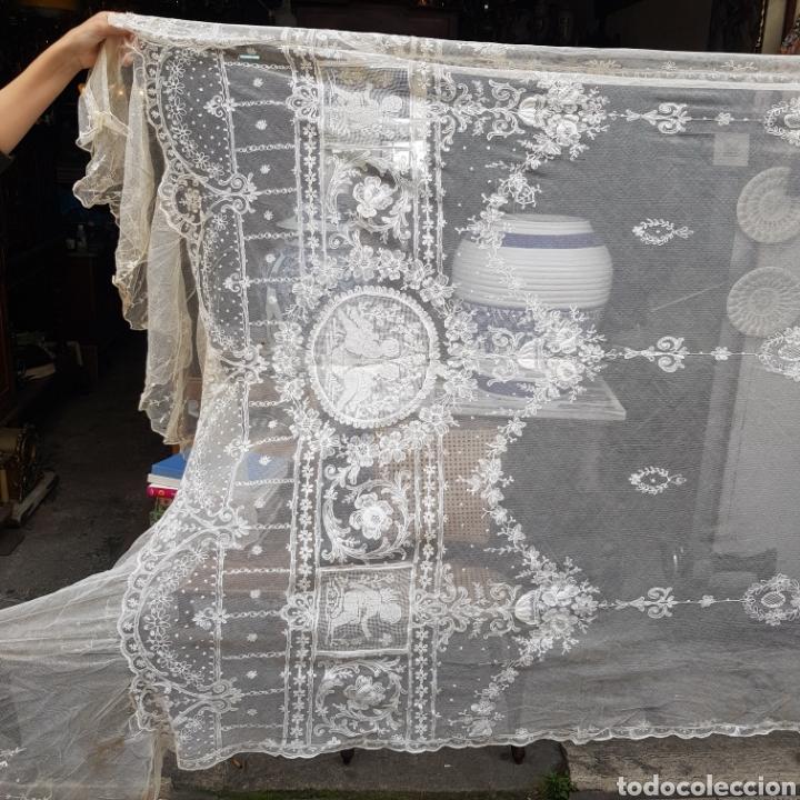 Antigüedades: ANTIGUO VELO MANTILLA EN ENCAJE DE BRUSELAS SIGLO XIX - Foto 15 - 169089153