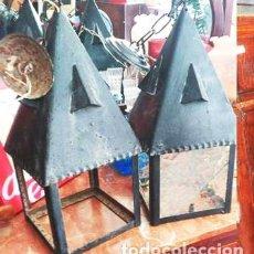 Antigüedades: DOS FAROLES CON FORMA DE TORRE / LÁMPARAS DE HIERRO. Lote 91642855
