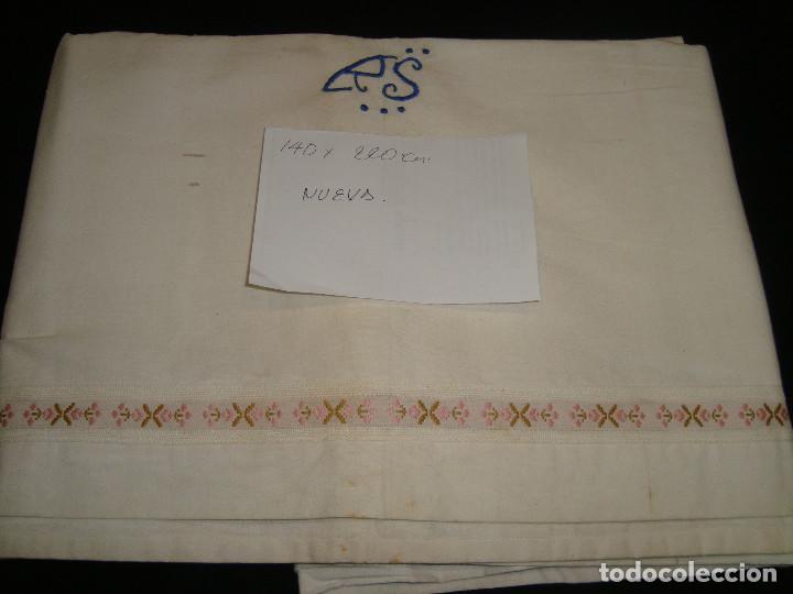 ANTIGUAS SABANAS DE ALGODÓNO LINO CON TIRA BORDADA, NUEVA (Antigüedades - Hogar y Decoración - Sábanas Antiguas)