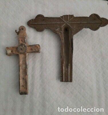 Antigüedades: CRUCIFIJOS MEDIEVALES GRANDES ANTIGUOS. - Foto 2 - 169133172