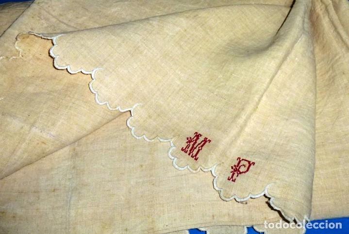 Antigüedades: Antigua colcha cubre camas de lino. - Foto 2 - 168869048
