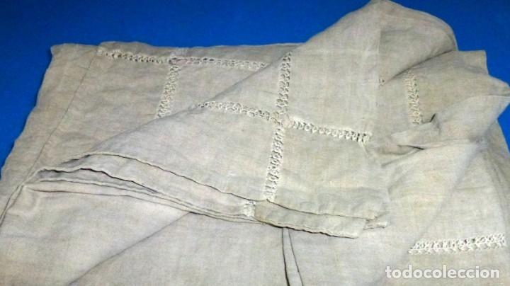Antigüedades: Antigua colcha,cortina o mantel de lino.300 x 190 cm - Foto 2 - 168869344