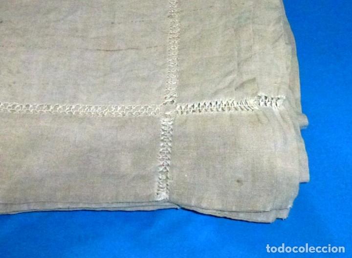 Antigüedades: Antigua colcha,cortina o mantel de lino.300 x 190 cm - Foto 3 - 168869344