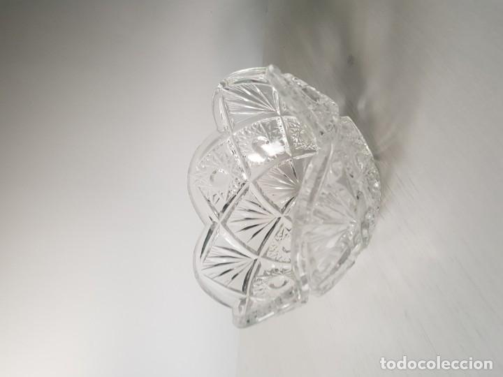 Antigüedades: Cuenco redondo de cristal checo BOHEMIA tallado a mano - Foto 2 - 169150772