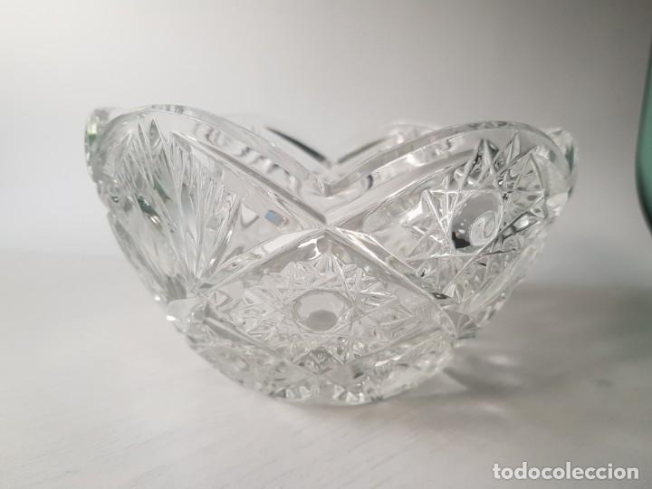 Antigüedades: Cuenco redondo de cristal checo BOHEMIA tallado a mano - Foto 3 - 169150772