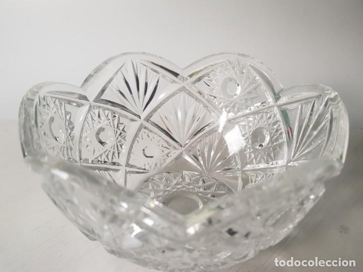 Antigüedades: Cuenco redondo de cristal checo BOHEMIA tallado a mano - Foto 4 - 169150772