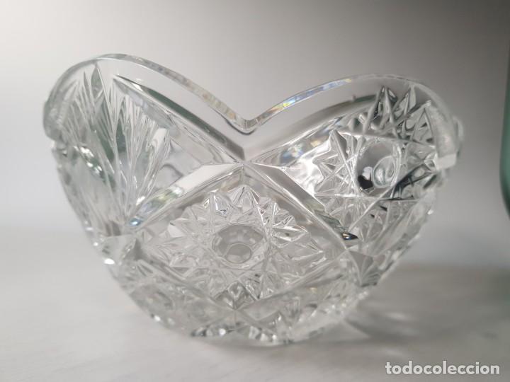 Antigüedades: Cuenco redondo de cristal checo BOHEMIA tallado a mano - Foto 5 - 169150772
