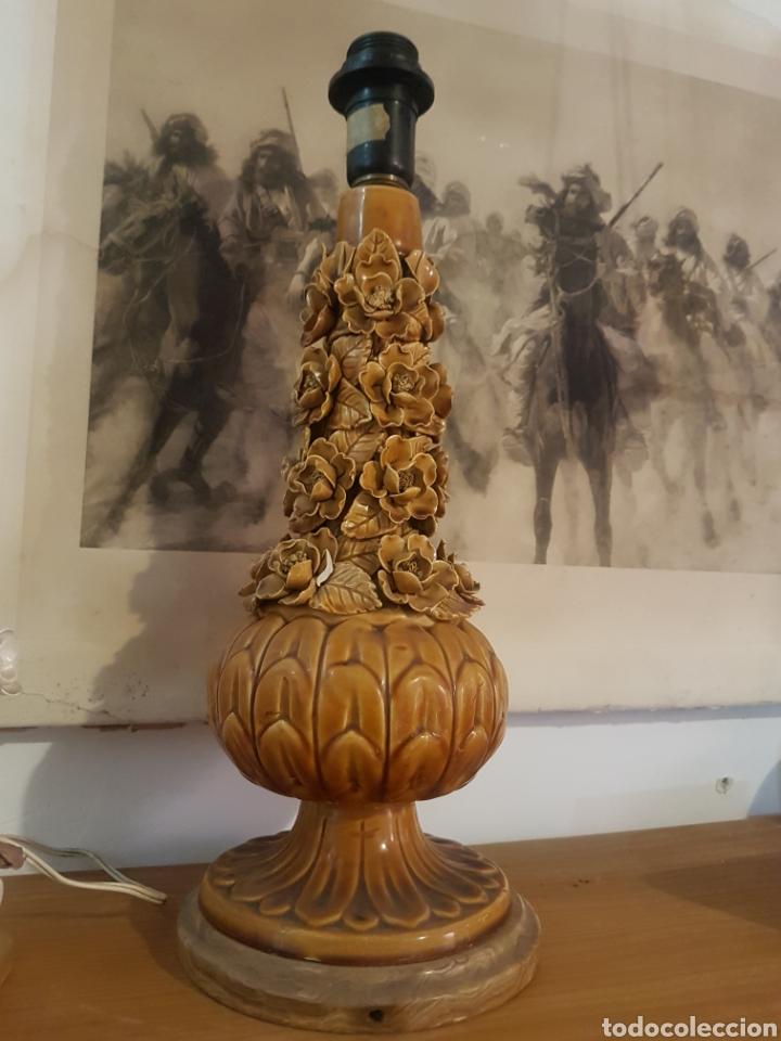 Antigüedades: Preciosa lámpara manises flores 47cm - Foto 4 - 169167354