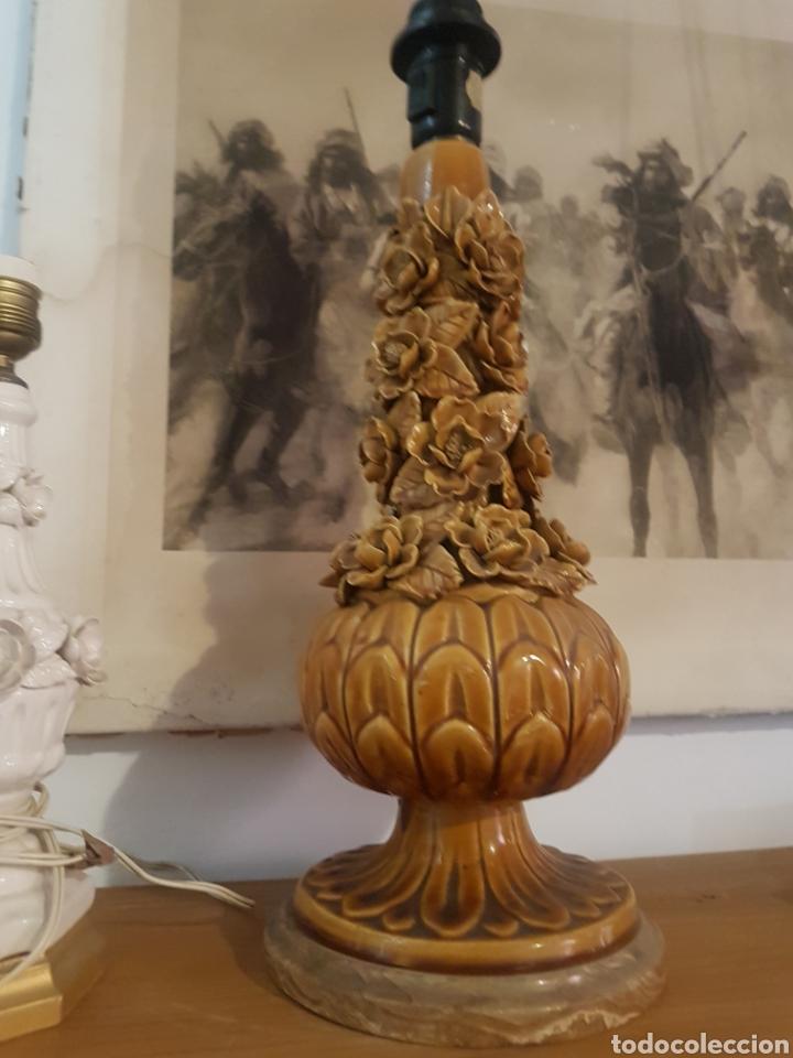 Antigüedades: Preciosa lámpara manises flores 47cm - Foto 5 - 169167354