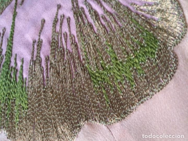 Antigüedades: bordado oro metal espectacular colcha manto virgen divina pastora o manton falda regional rosa - Foto 4 - 169176828