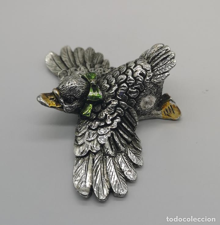 Antigüedades: Simpatico patito antiguo laminado en plata de ley 925 parcialmente esmaltado . - Foto 2 - 169178336