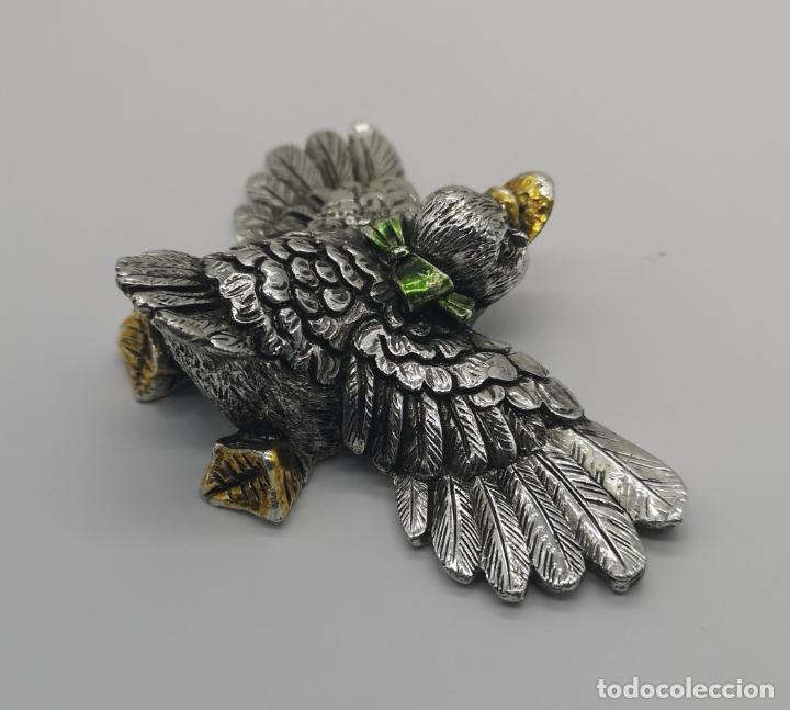Antigüedades: Simpatico patito antiguo laminado en plata de ley 925 parcialmente esmaltado . - Foto 4 - 169178336