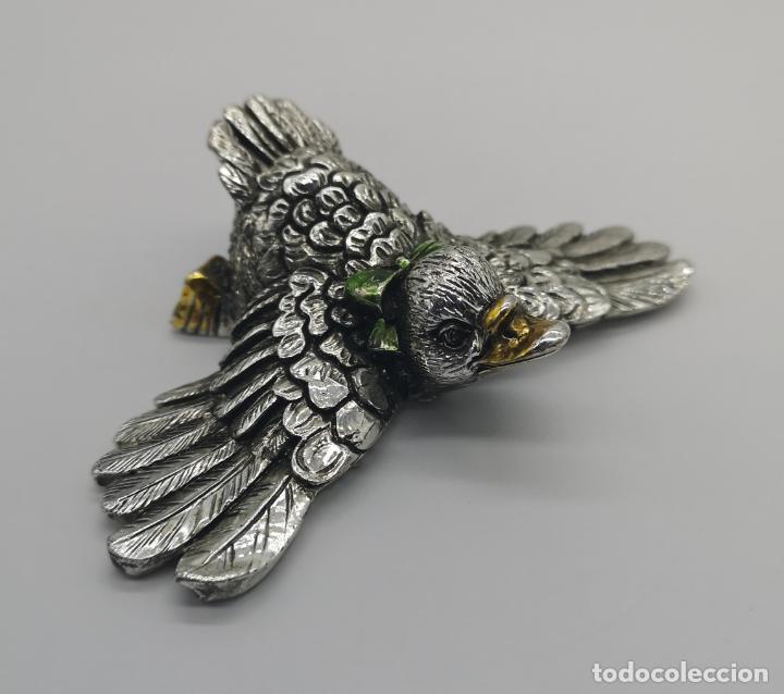 Antigüedades: Simpatico patito antiguo laminado en plata de ley 925 parcialmente esmaltado . - Foto 5 - 169178336