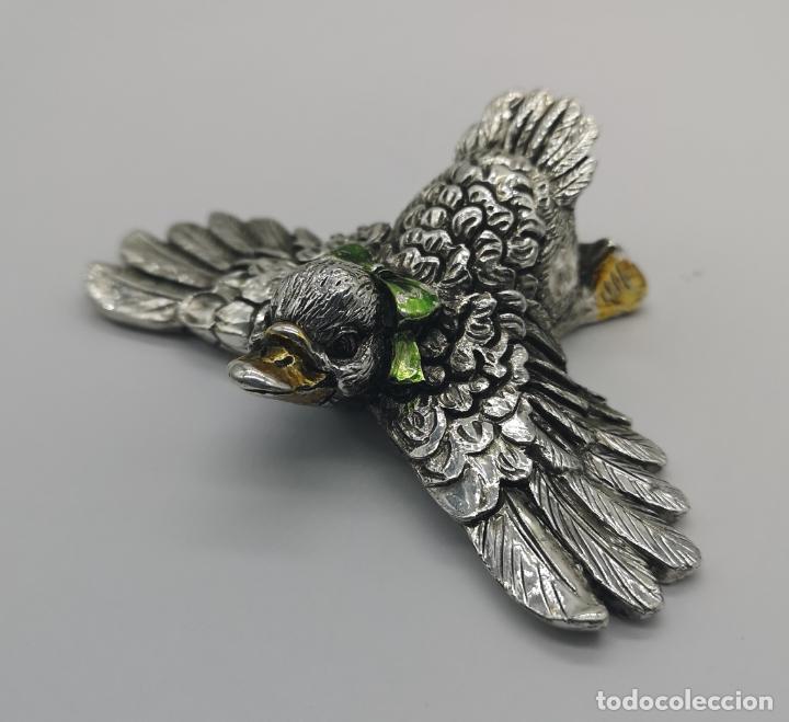 Antigüedades: Simpatico patito antiguo laminado en plata de ley 925 parcialmente esmaltado . - Foto 6 - 169178336