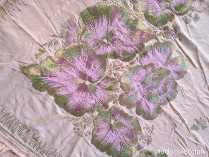 Antigüedades: bordado oro metal espectacular colcha manto virgen divina pastora o manton falda regional rosa - Foto 30 - 169176828