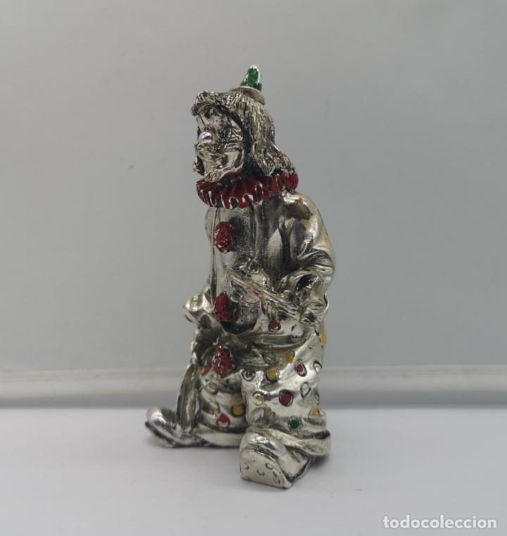 Antigüedades: Bella figura antigua de payaso laminado en plata de ley 925 con detalles esmaltados . - Foto 2 - 169188712