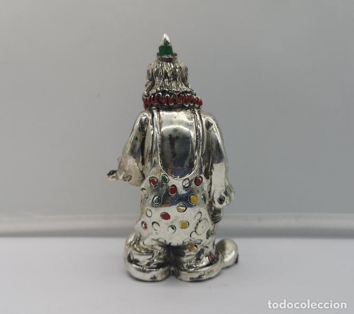 Antigüedades: Bella figura antigua de payaso laminado en plata de ley 925 con detalles esmaltados . - Foto 3 - 169188712