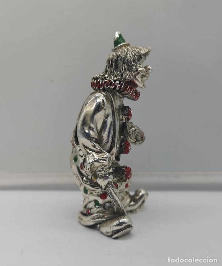 Antigüedades: Bella figura antigua de payaso laminado en plata de ley 925 con detalles esmaltados . - Foto 4 - 169188712