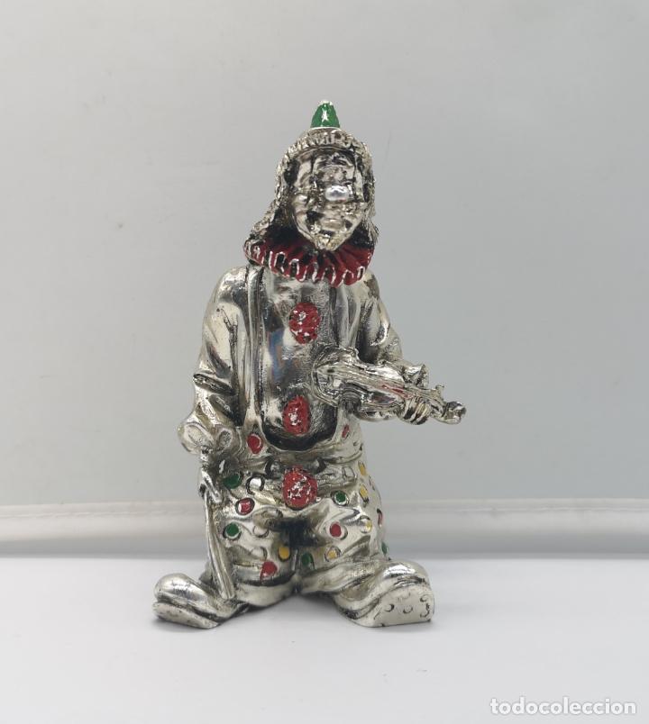 Antigüedades: Bella figura antigua de payaso laminado en plata de ley 925 con detalles esmaltados . - Foto 5 - 169188712