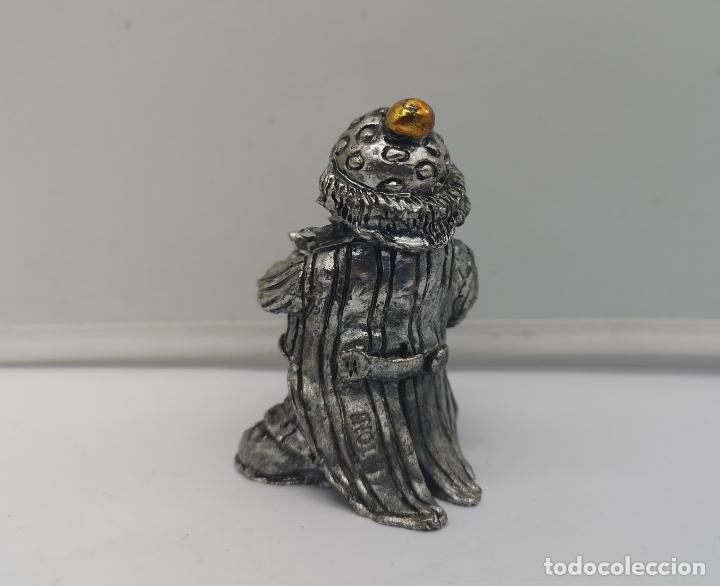 Antigüedades: Bella figura antigua de payaso laminado en plata de ley 925 con detalles esmaltados . - Foto 3 - 169190180