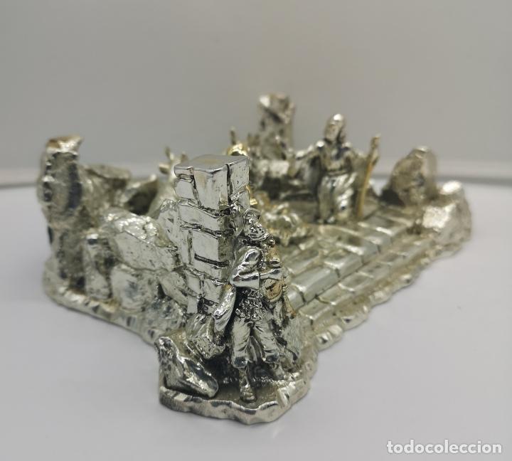 Antigüedades: Bello Belén vintage laminado en plata de ley 925 . - Foto 2 - 169225000