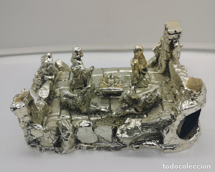 Antigüedades: Bello Belén vintage laminado en plata de ley 925 . - Foto 3 - 169225000