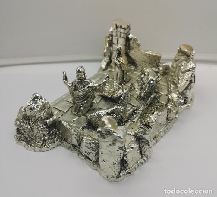 Antigüedades: Bello Belén vintage laminado en plata de ley 925 . - Foto 4 - 169225000