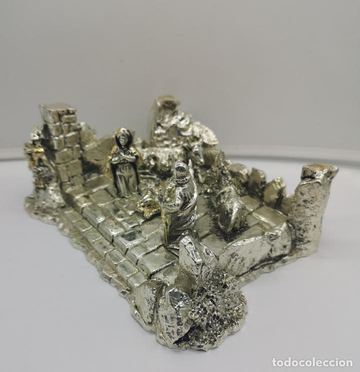 Antigüedades: Bello Belén vintage laminado en plata de ley 925 . - Foto 5 - 169225000