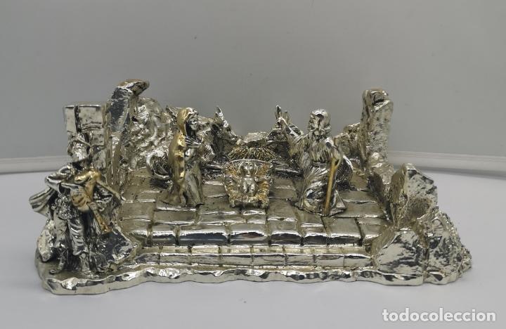 Antigüedades: Bello Belén vintage laminado en plata de ley 925 . - Foto 6 - 169225000