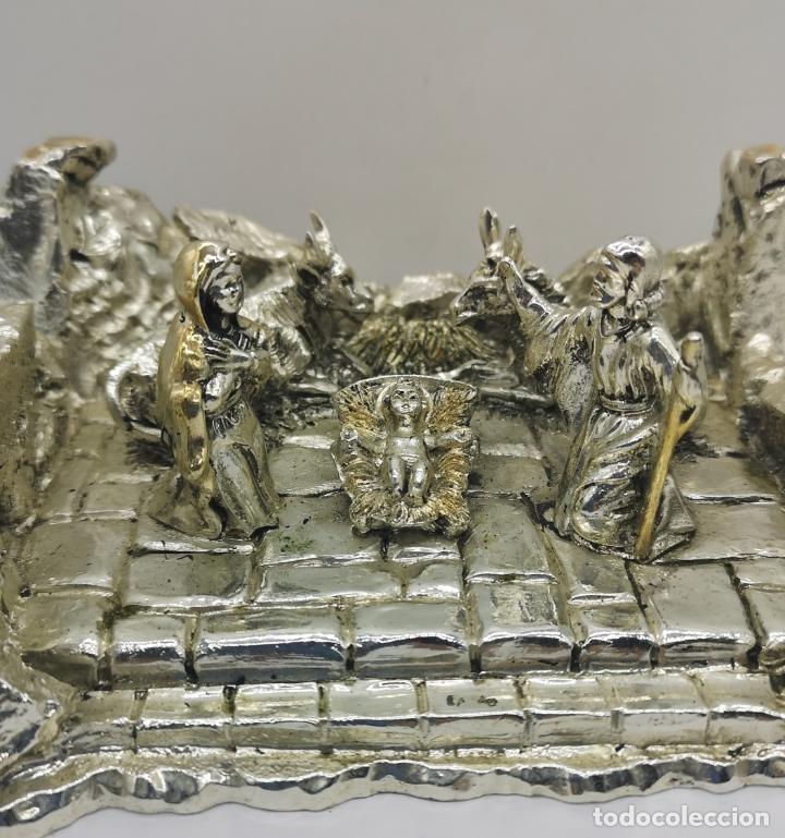 Antigüedades: Bello Belén vintage laminado en plata de ley 925 . - Foto 7 - 169225000