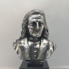 Antigüedades: BUSTO ANTIGUO DEL COMPOSITOR FRANZ LISZT LAMINADO EN PLATA DE LEY SOBRE PEANA DE MÁRMOL .. Lote 169227888