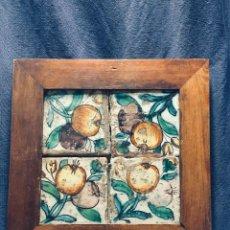 Antigüedades: PANEL CUATRO AZULEJOS NARANJAS MANISES VALENCIA EN MARCO S XVIII SUELO DESGASTES PATINA 30,5X31CMS. Lote 169229580