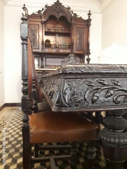 Antigüedades: MESA ISABELINA DE CAOBA TALLADA Y 6 SILLAS. (1850-1860) - Foto 10 - 146460126