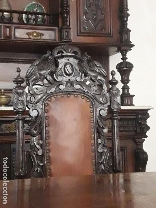 Antigüedades: MESA ISABELINA DE CAOBA TALLADA Y 6 SILLAS. (1850-1860) - Foto 14 - 146460126