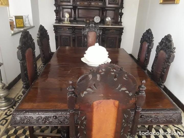 Antigüedades: MESA ISABELINA DE CAOBA TALLADA Y 6 SILLAS. (1850-1860) - Foto 12 - 146460126