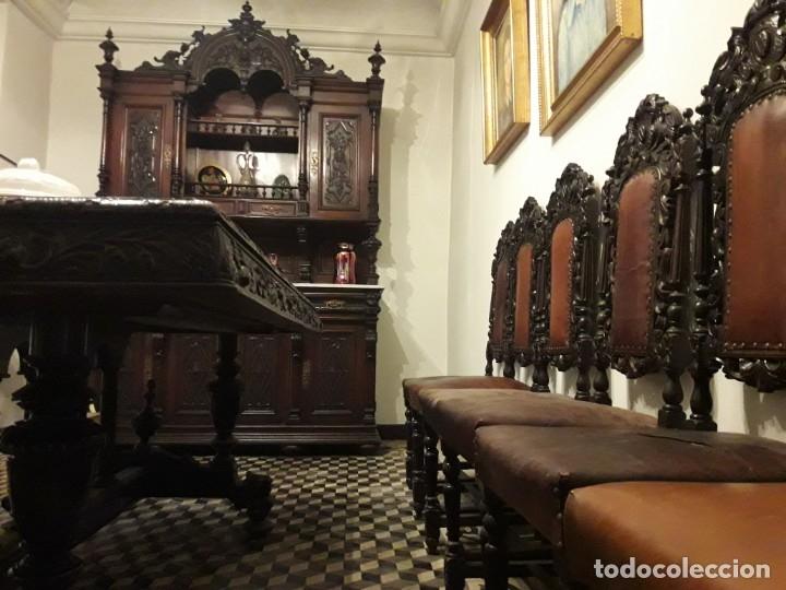 Antigüedades: MESA ISABELINA DE CAOBA TALLADA Y 6 SILLAS. (1850-1860) - Foto 34 - 146460126