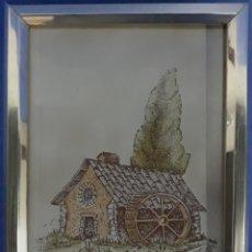 Antigüedades: AZULEJO ENMARCADO CASA CON NORIA. Lote 169246602
